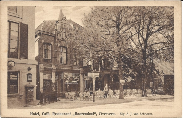 Bloemendaalscheweg, hoek Zijlweg, Hotel Roozendaal, 1925