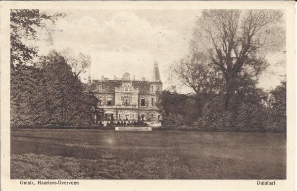 Duinlustweg, Landgoed Duinlust, 1909
